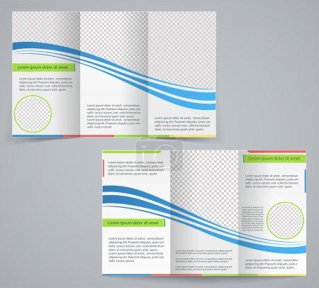 Tri-fold business brochure template, vector blue design flyer wi