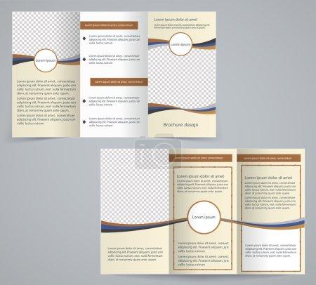 Tri-fold business brochure template, vector brown design flyer