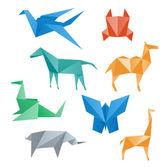 Paper animals crane horse camel crab dragon rhino giraffe