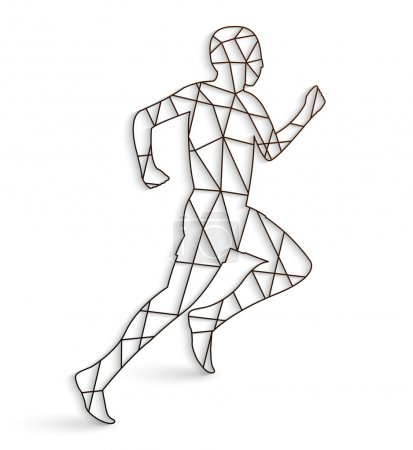 Running man with lines on a white background