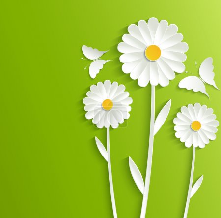 Illustration for Summer flowers with butterflies on a bright green background - Royalty Free Image