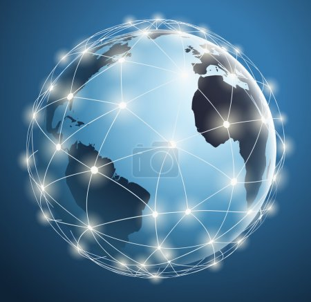 Global Networks, digital connections around the world map