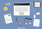 Workspace flat desktop design with business icons