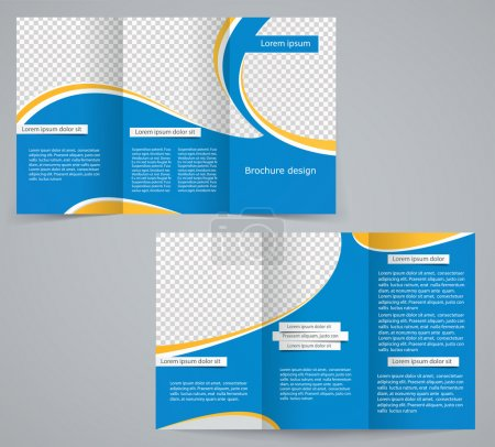 Tri-fold business brochure template, vector blue design flyer wi