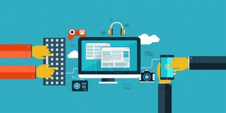 Illustration pour Icônes de design plat pour web et mobile. Interaction mains à l'aide du clavier et application mobile . - image libre de droit