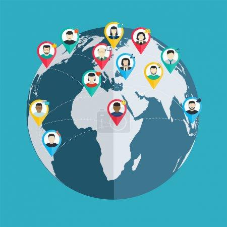 Illustration pour Concept des réseaux sociaux, sans fil connecter les gens du monde entier, web design plat et applications mobiles - image libre de droit