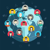 Concept of social networking Wireless connect people around the