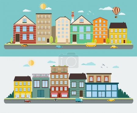 Town streets in a flat design, set of urban streetscapes