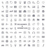 Set of lines of icons SEO business media and science