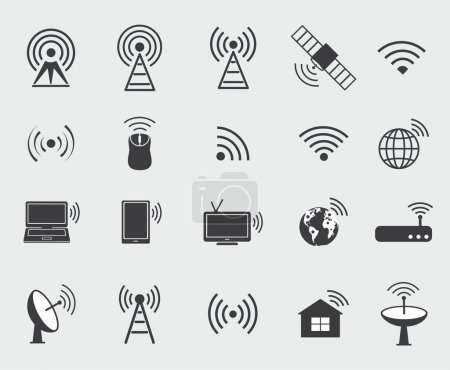 Illustration for Black wireless icons. Set  icons for wifi control access and radio communication. - Royalty Free Image