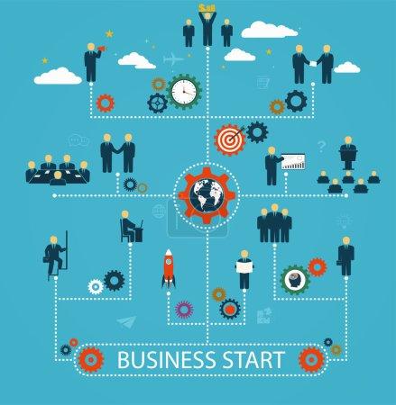 Illustration pour Création d'entreprise, main-d'œuvre, travail d'équipe, gens d'affaires en mouvement, motivation au succès. Modèle avec les humains, les icônes et les engins - image libre de droit