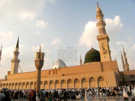 Green dome of Nabawi Mosque at hajj season.