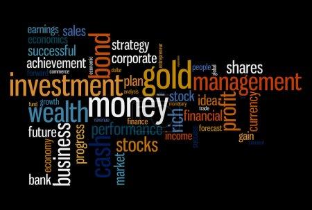 Wealth management portfolio info text graphics and arrangement concept