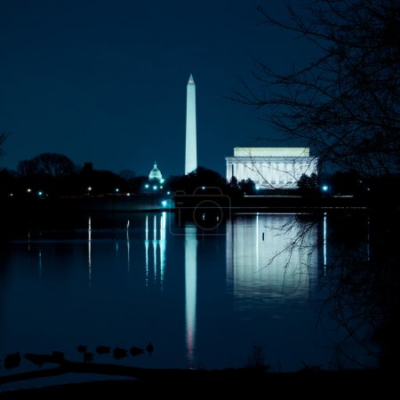 Washington DC Monuments Reflecting In The Potomac River