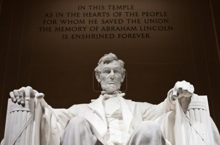 Close up image of the statue of Abraham Lincoln at...