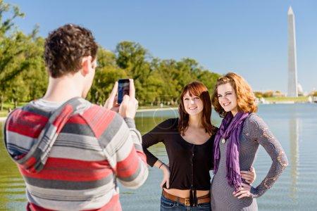 Tourist Couple Taking Pictures In Washington DC