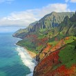 View at Na Pali Coast from helicopter, Kauai, Hawa...