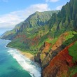 View from helicopter at Na Pali coast , Kauai, Haw...