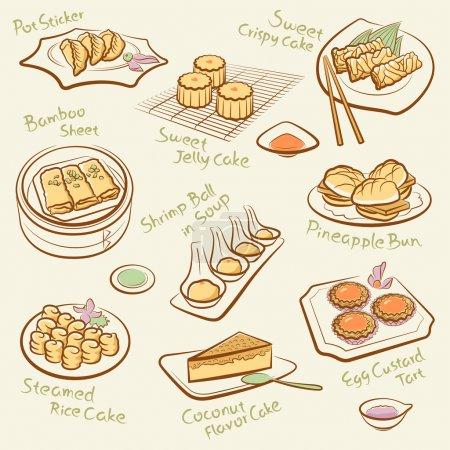 conjunto de alimentos chinos.