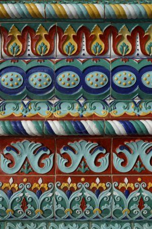 Colorful facade decoration of the Assumption Cathedral in Yarosl