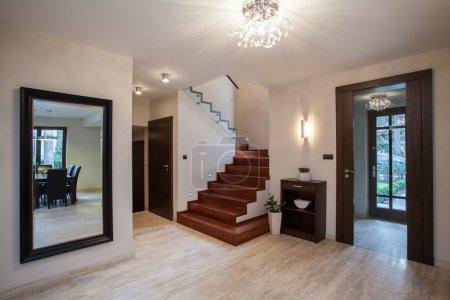 Travertine house: hallway