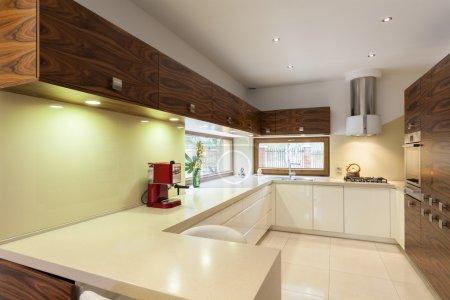 Photo pour Nouvel intérieur de cuisine contemporaine aux couleurs verts - image libre de droit