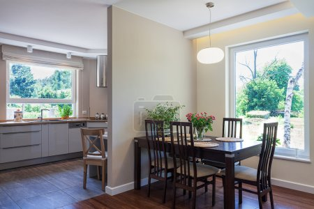 Photo for Bright space - an elegant and spacious dining room and kitchen - Royalty Free Image