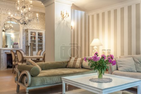 Photo for Vintage mansion - a beige lounge in a retro apartment - Royalty Free Image