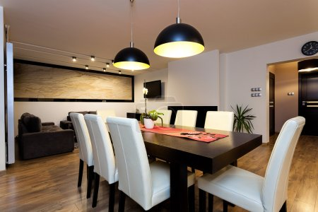Photo for Urban apartment - climatic lightet up interior in modern house - Royalty Free Image