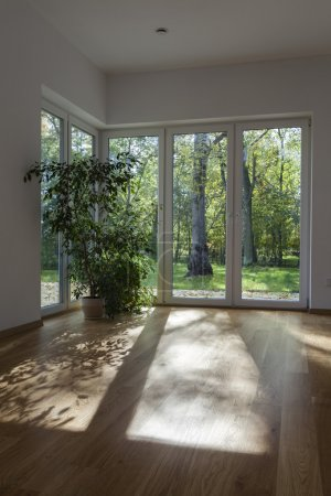 Photo pour D'immenses fenêtres et les portes d'un jardin - image libre de droit