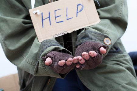 Photo for Poor pauper begging for help - Royalty Free Image