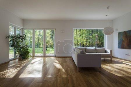 Photo pour Salon spacieux avec vue sur jardin - image libre de droit