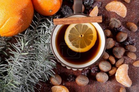 Hot winter tea in mug