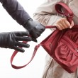 A closeup of a thief wearing gloves holding a woma...