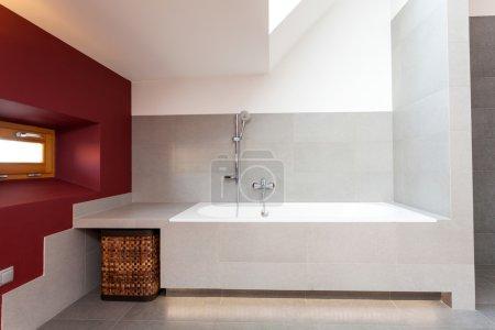 White bath in modern bathroom