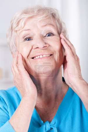 Elderly woman's skin care