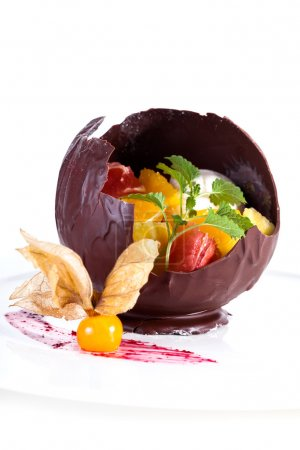 Chocolate fruit dessert