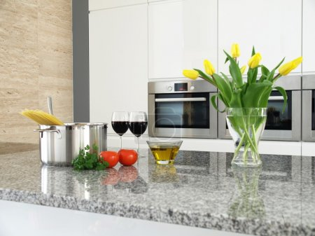 Fresh components for spaghetti in a modern kitchen interior