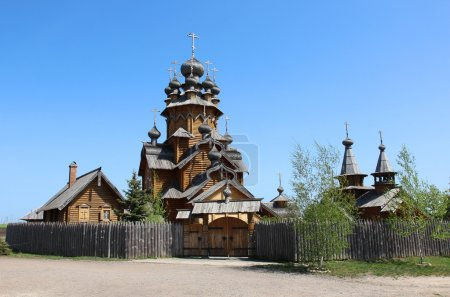 Wooden church in Russian countryside