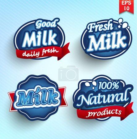 Illustration pour Étiquette, insigne ou sceau du lait de ferme - image libre de droit