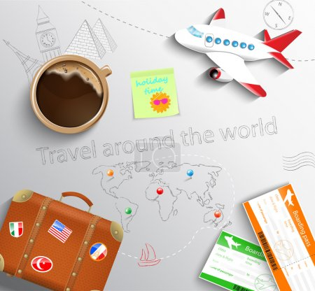 Illustration for The concept of traveling - tickets with a suitcase and a plane - Royalty Free Image