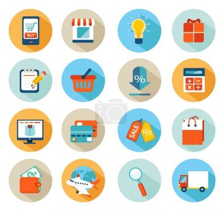 Illustration pour Ensemble d'icônes de conception plate pour les achats en ligne - image libre de droit