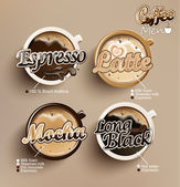Coffee vector icon set menu