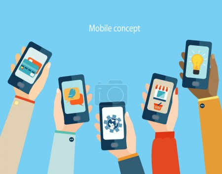 Illustration for Concept for mobile apps, Flat design vector illustration. - Royalty Free Image