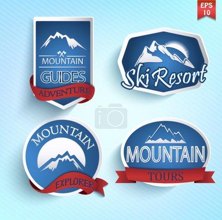 Illustration pour Ensemble d'icônes de montagne. Escalade. Grimpeuse. Collection d'étiquettes de station de ski. Vecteur . - image libre de droit