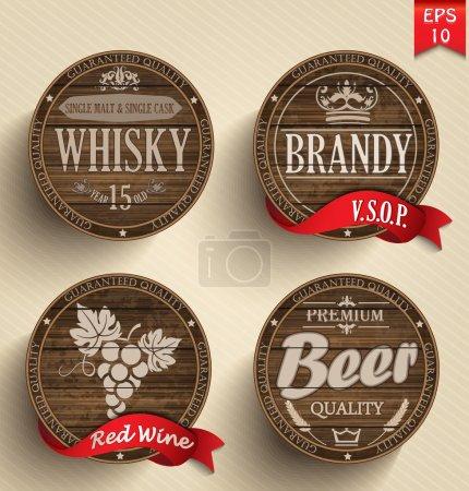 Illustration pour Ensemble de fûts en bois avec boissons alcoolisées emblèmes - image libre de droit
