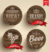Wooden casks with alcohol