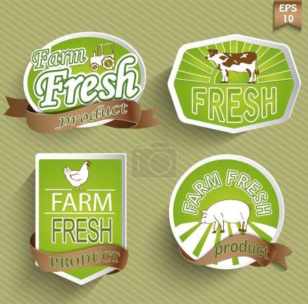 Illustration for Farm fresh food label, badge or seal - Royalty Free Image