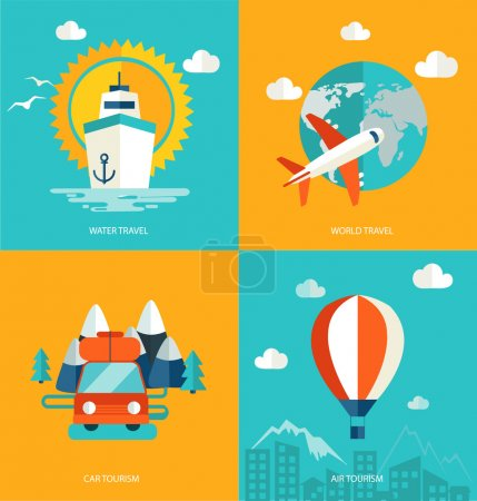 Illustration for Icons set of traveling, planning a summer vacation, tourism in flat design. Business travel concept. - Royalty Free Image