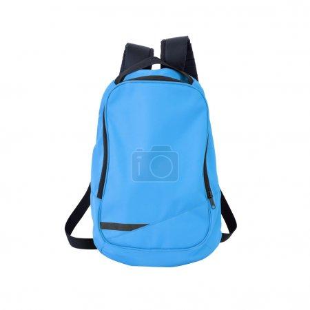 Photo pour Une image haute résolution d'un sac à dos isolé de couleur bleue sur fond blanc. Chemin de coupe de haute qualité inclus . - image libre de droit